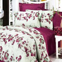 China Red, 100% Cotton 4PC Duvet Cover Set (Queen Size)